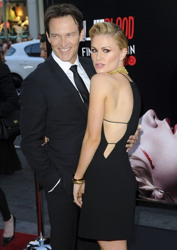 Anna Paquin and Stephen Moyer at the Los Angeles premiere of the final season of True Blood held at the TCL Chinese Theatre in Hollywood on June 17, 2014