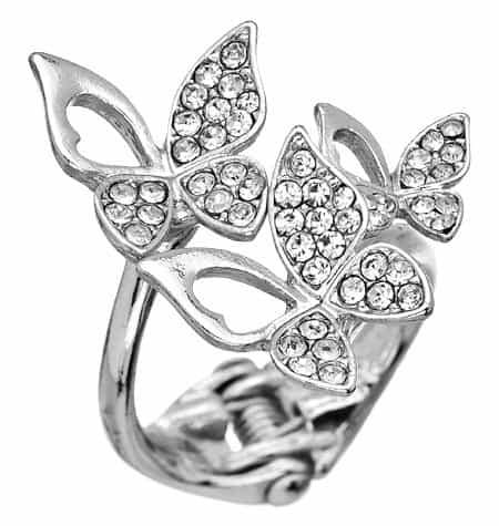 Blu Bijoux Silver Crystal Butterflies Snap-On Ring