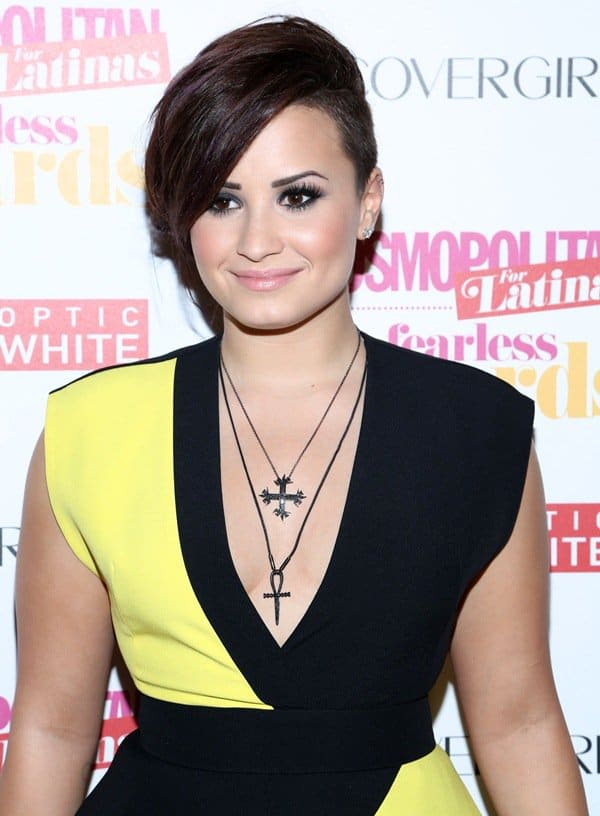 Demi Lovato rocked quite a fun and fearless color-blocked frock that was very fitting for the event