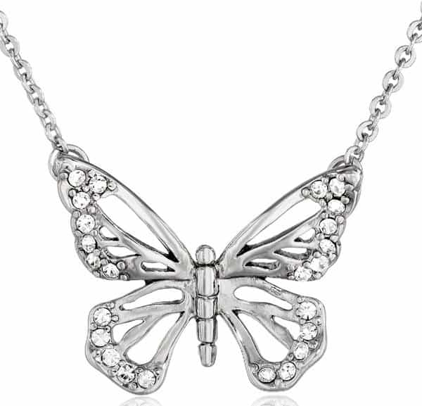 Fossil Butterfly Silver Pendant Necklace