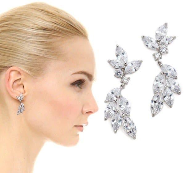 Kenneth Jay Lane Marquis Hanging Crystal Earrings