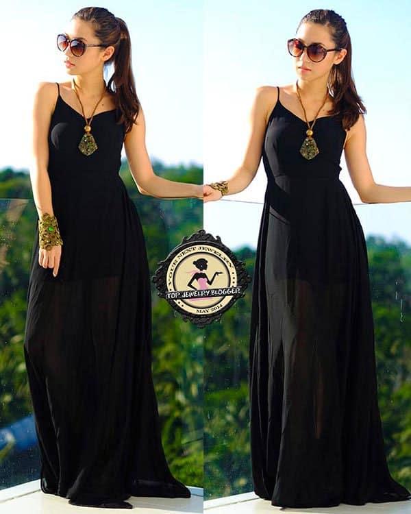 Kryz rocks a simple black maxi dress with stunning jewelry