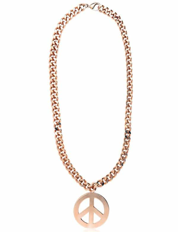 Moschino Peace Symbol Gold Plated Long Necklace