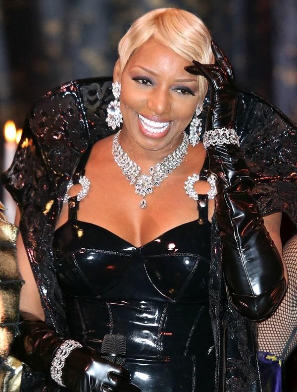 Nene Leaks wearing loads of sparkling crystal jewelry
