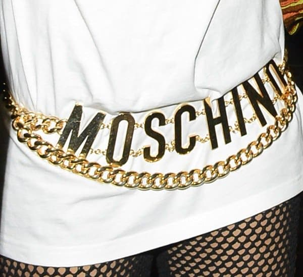 Rita Ora wearing Moschino jewelry
