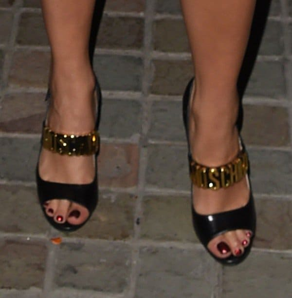 Rita Ora wearing Moschino sandals