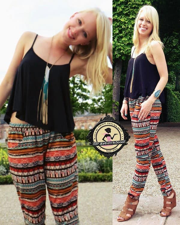 Signe rocked a tribal-inspired casual outfit