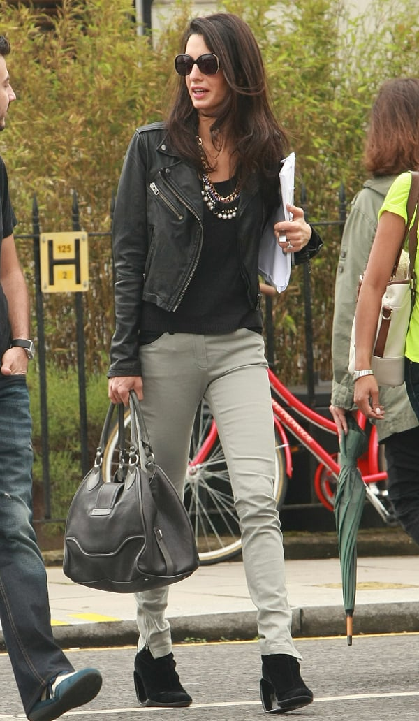 Amal Alamuddin in a biker chick look while out in London, England, on June 14, 2014