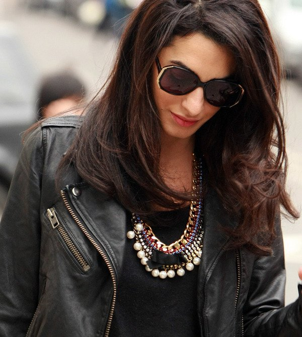 Amal Alamuddin wears statement necklace
