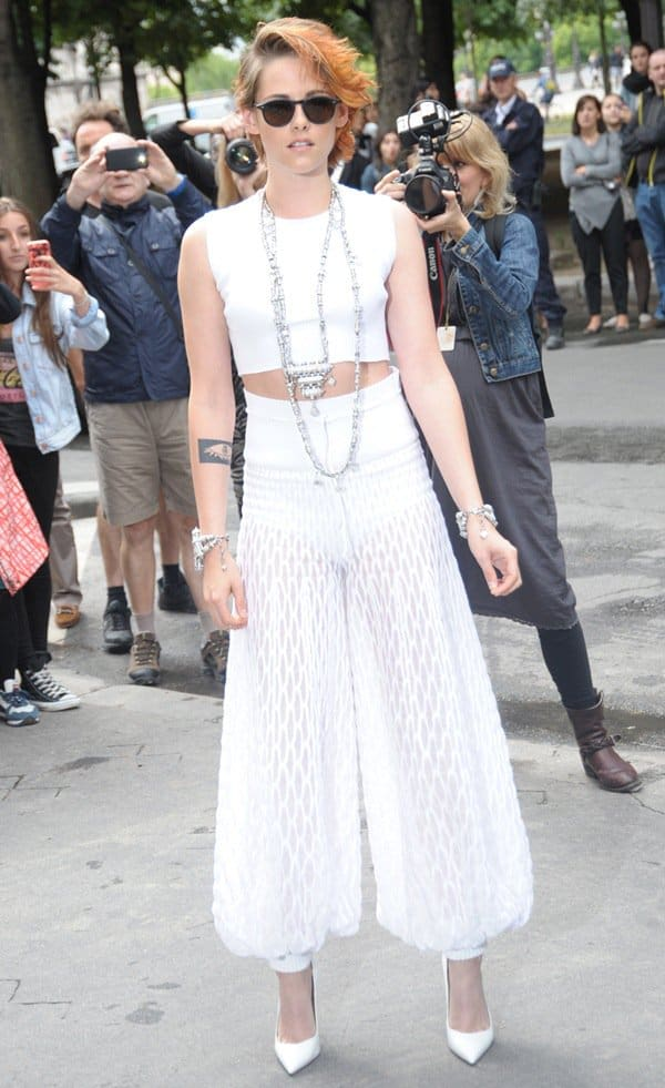 Kristen Stewart at the Paris Fashion Week Haute Couture Fall/Winter 2015 (Chanel show) in France on July 8, 2014