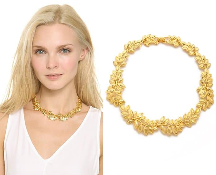 Kenneth Jay Lane Crystal Leaf Necklace3
