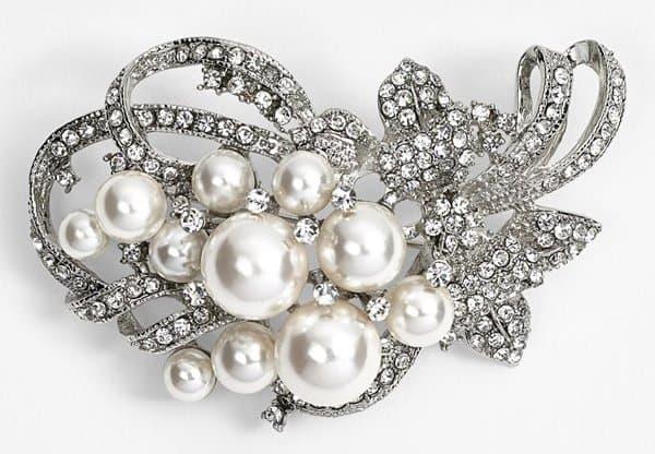 Nina 'Jaela' Faux Pearl & Crystal Brooch