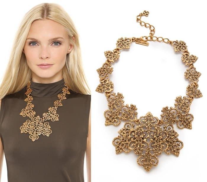 Oscar de la Renta Gold Lace Necklace3