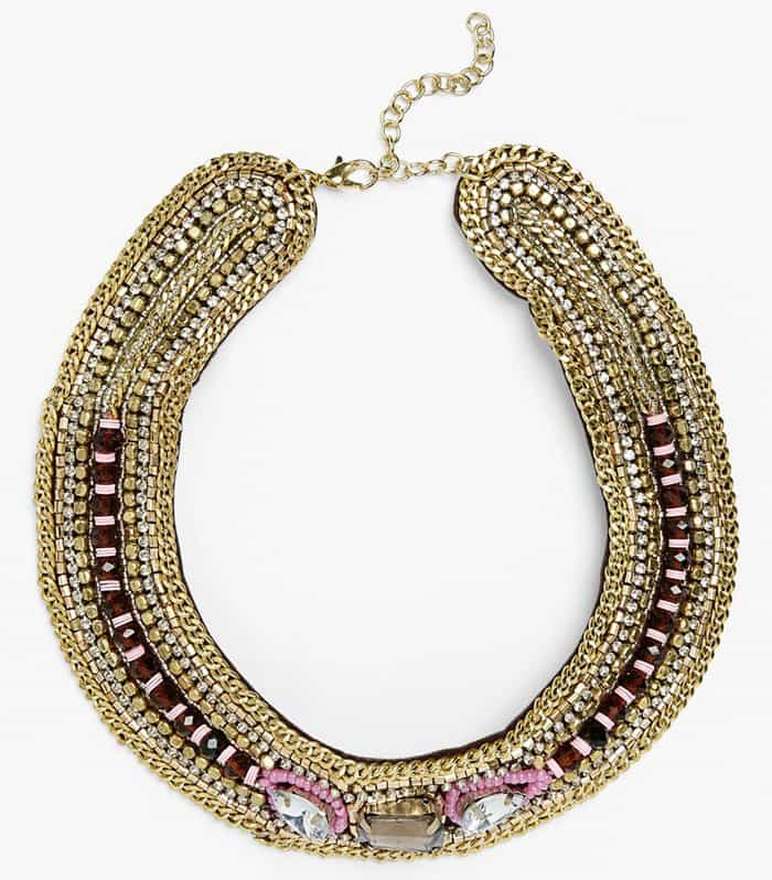 Topshop Beaded Chain Collar Necklace