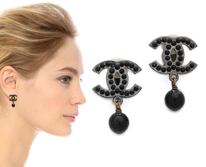 Vintage Chanel CC Dangle Earrings3