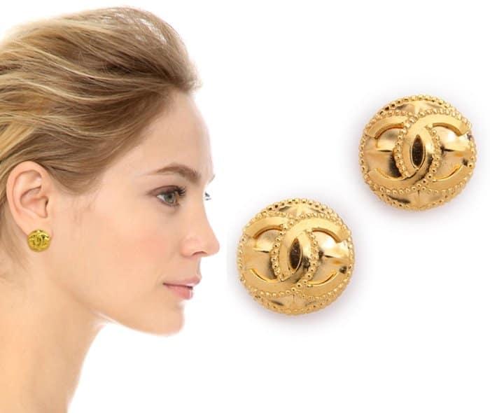 Vintage Chanel CC Dots Border Earrings3