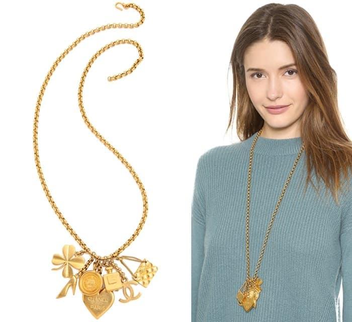 Vintage Chanel Charm Cluster Necklace3