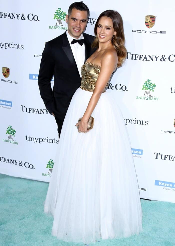 Jessica Alba with husband Cash Warren at the 2014 Baby2Baby Gala Honoring Kate Hudson held at The Book Bindery in Los Angeles on November 8, 2014
