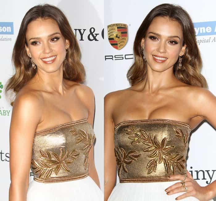 Jessica Alba finished her gilded princess look with matching golden nails and a drool-worthy set of Tiffany & Co. rings