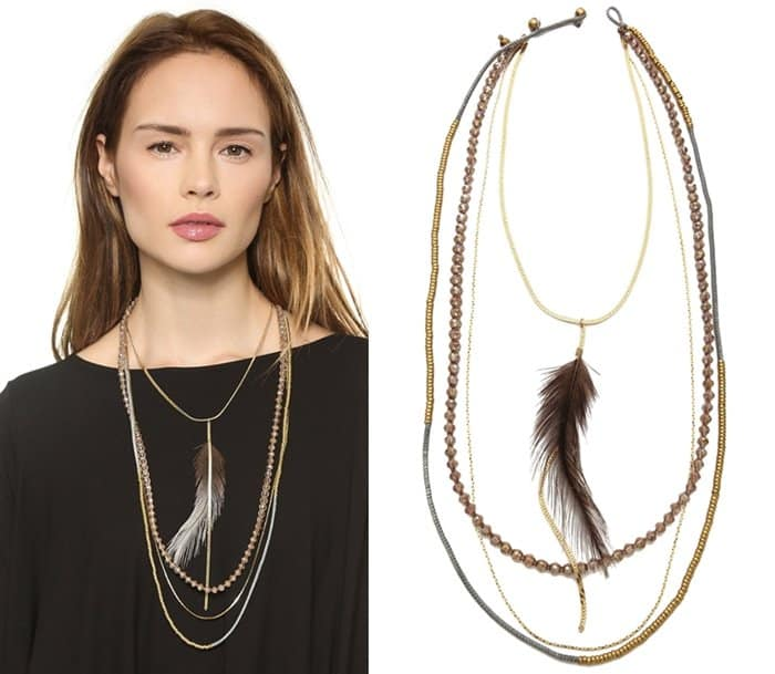 Serefina Feather Layered Necklace3