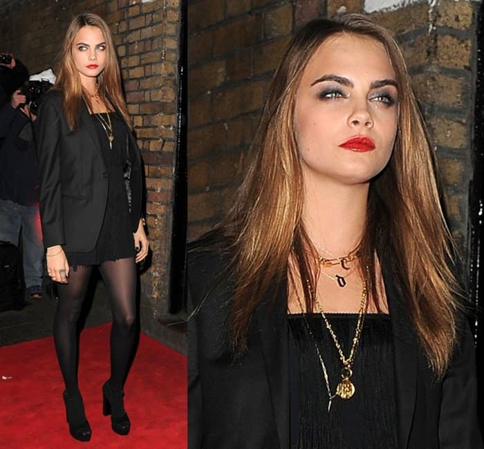 Cara Delevingne at the YSL Beauté held at The Boiler House in London, England, on January 20, 2015