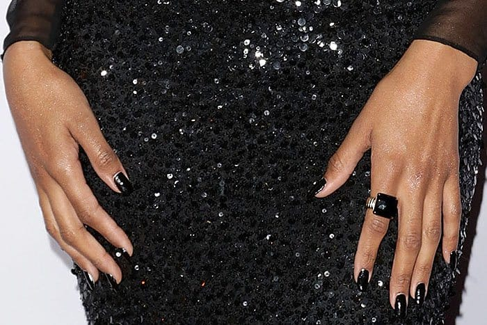 Ciara's black John Hardy square-cut ring matching her black nails and black Pamella Roland sequined gown