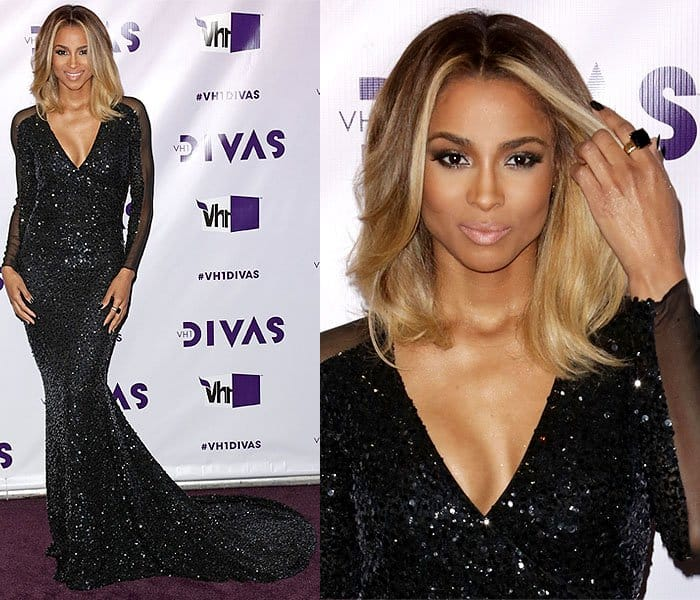 Most likely inspired by Bali's black sand beaches, the ring complemented the sleekness of Ciara's black sequined Pamella Roland gown