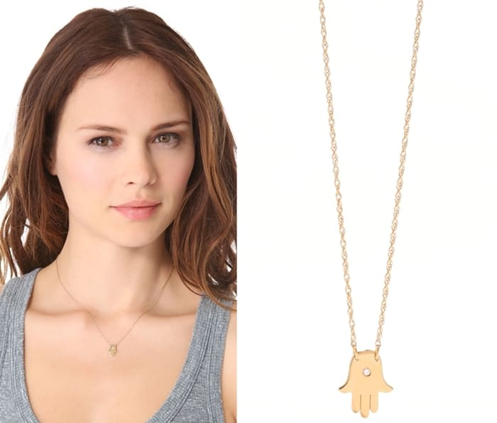 Jennifer Zeuner Jewelry Mini Hamsa Diamond Necklace3