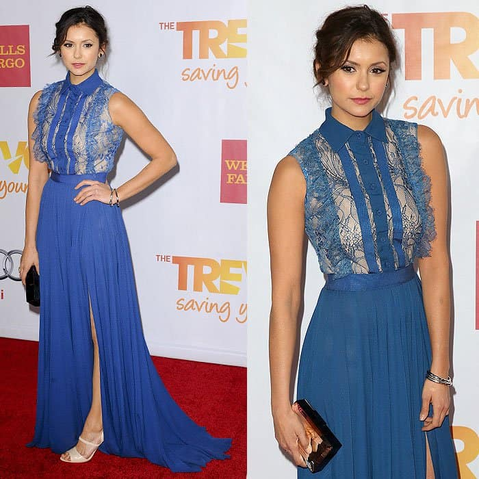 Nina Dobrev utilized John Hardy Bamboo bracelets to add a laid-back touch to her high-glam look