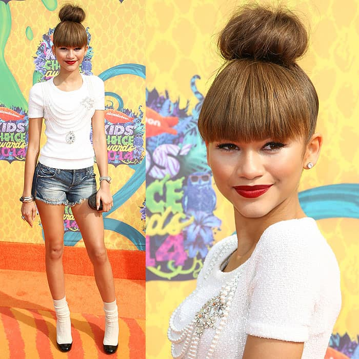 Zendaya at the 2014 Nickelodeon Kids' Choice Awards, held at the USC Galen Center in Los Angeles, California, on March 29, 2014