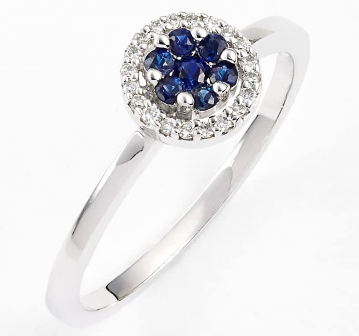 Bony Levy Flower Blue Sapphire & Diamond Stack Ring