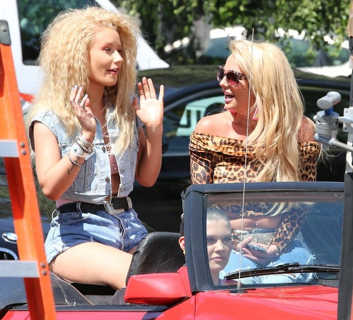 Britney Spears and Iggy Azalea shooting a scene for their music video for 'Pretty Girls' in Studio City, Los Angeles, on April 9, 2015