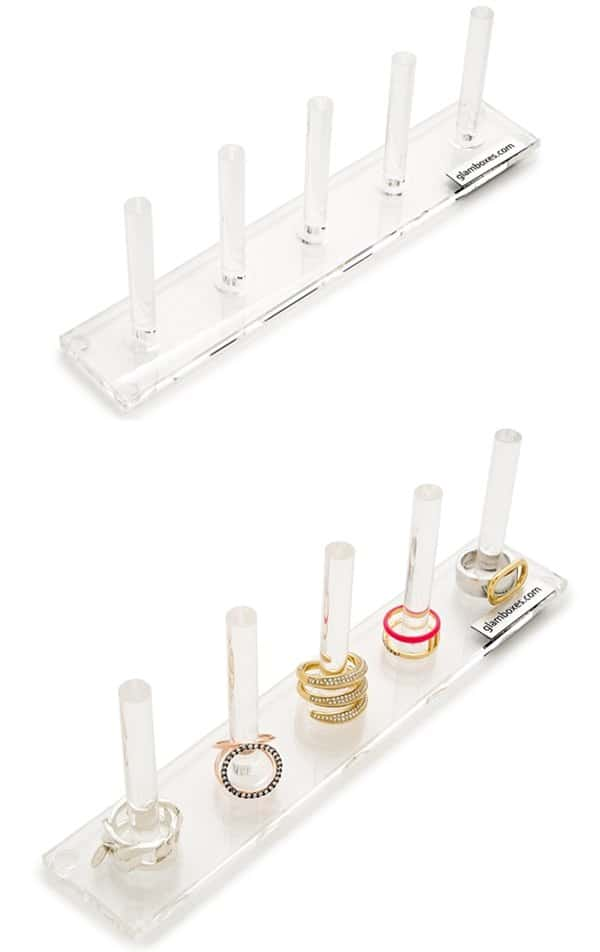 GLAMboxes GLAMring Holder in Clear Acrylic