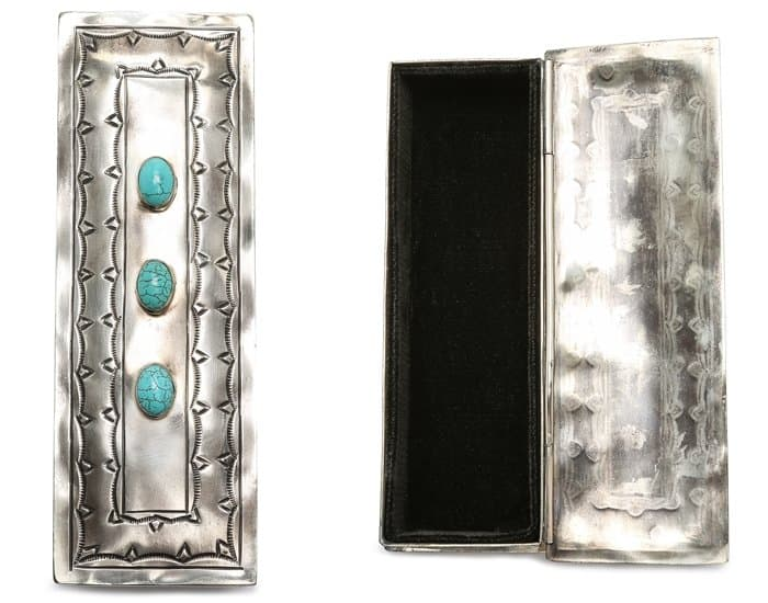 Gift Boutique Stamped Eyeglass Box in Silver/Turquoise