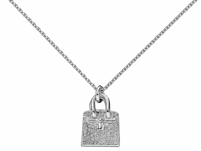 "Hermes ""Birkin"" Charm Pendant in White Gold"