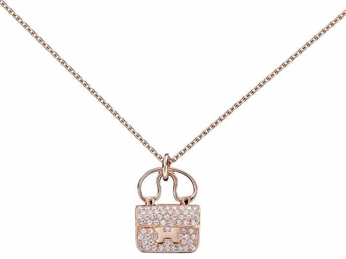 "Hermes ""Constance"" Bag Pendant in Rose Gold"