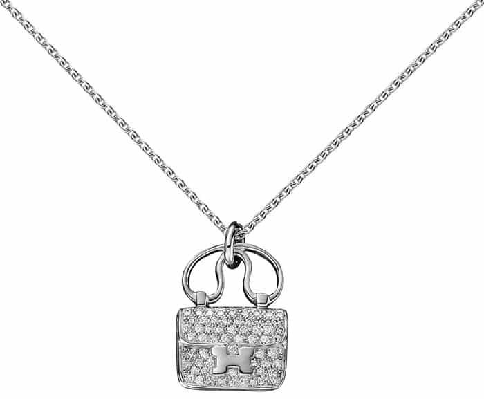 """Hermes """"Constance"""" Bag Pendant in White Gold"""