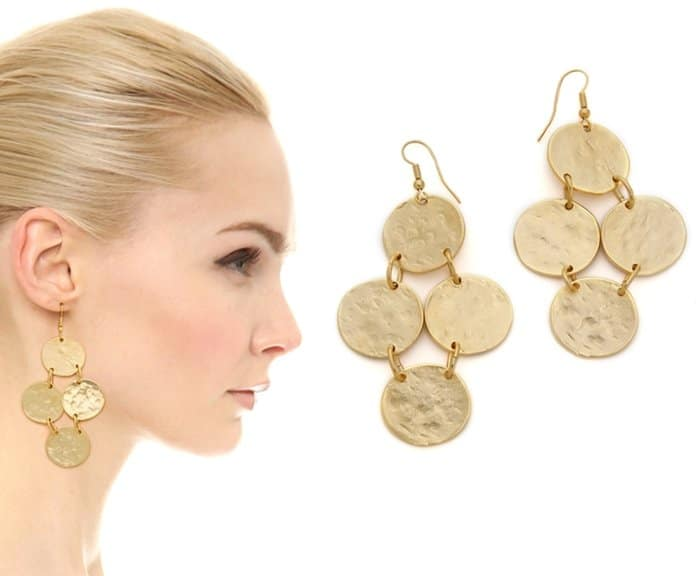 Kenneth Jay Lane Hammered Disc Earrings3