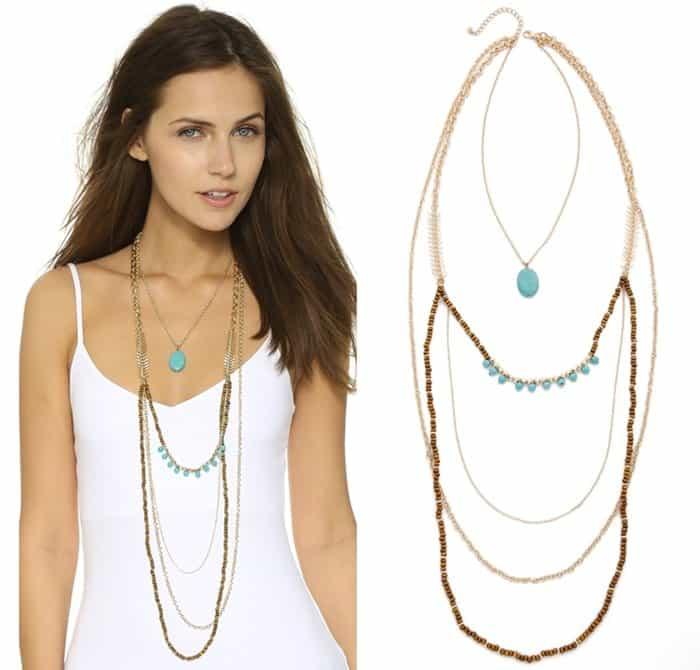 A Jules Smith multi-strand necklace, accented with rich turquoise beads