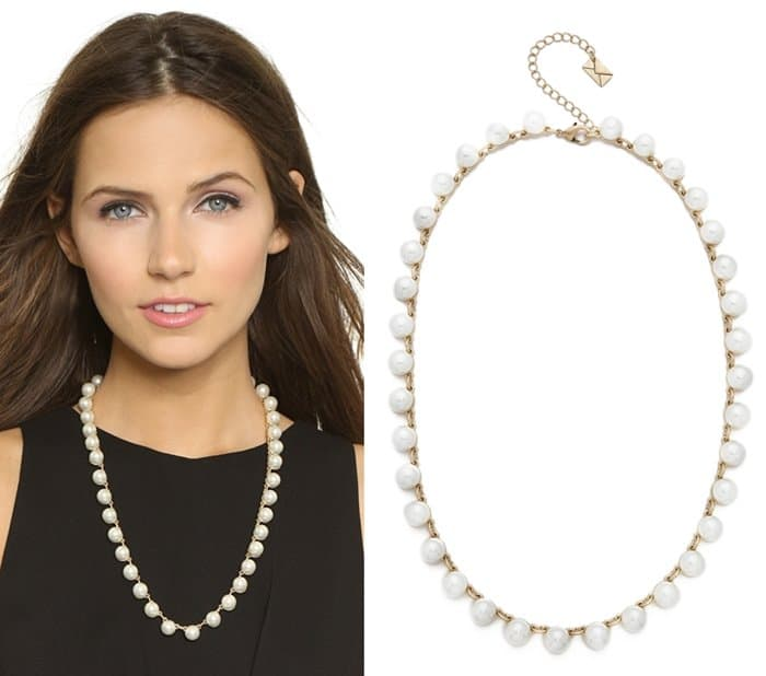A neat row of imitation pearls runs the length of this simple Juliet & Company necklace