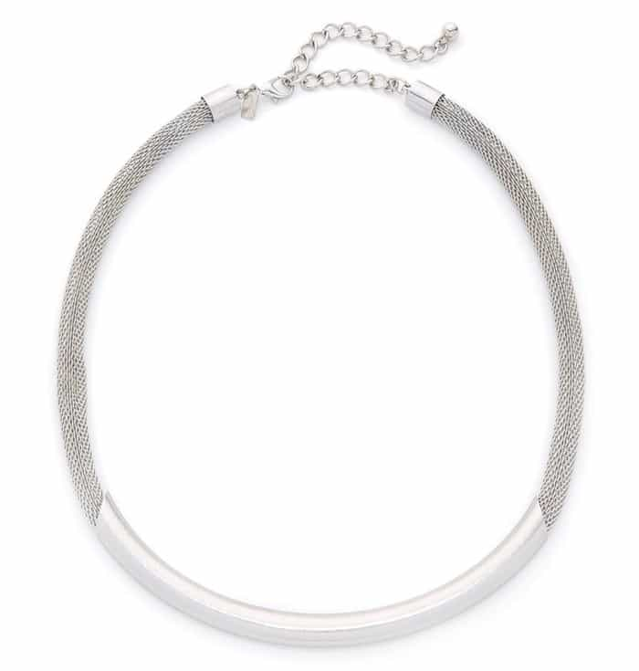 Kenneth Jay Lane Mesh Choker Necklace in Silver