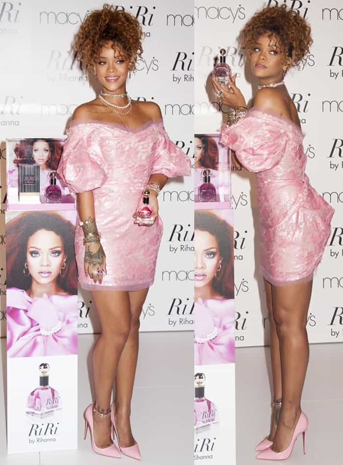 "Rihanna in a frilly pink off-shoulder dress at the launch of her new fragrance ""RiRi"" at Macy's in New York on September 1, 2015"