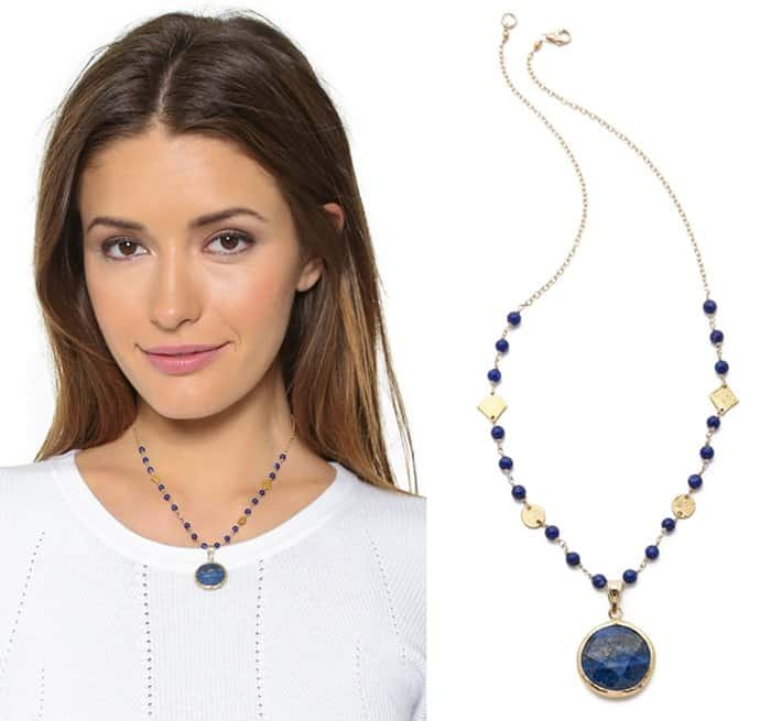 An elegant Mary Louise Designs necklace, accented with rich lapis lazulis and polished charms