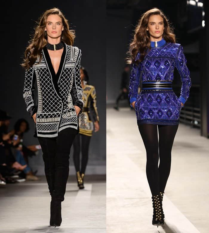 Alessandra Ambrosio walking the runway of the Balmain x H&M collection launch at 23 Wall St. in Manhattan on October 21, 2015