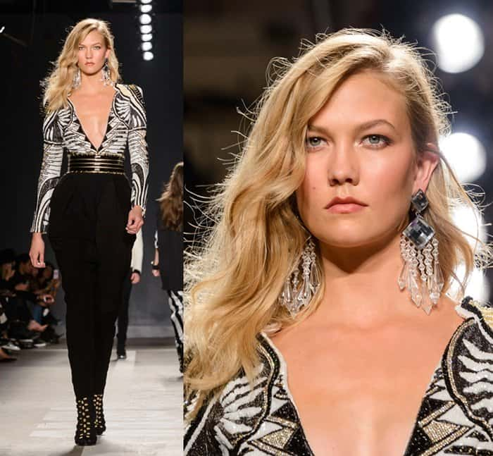 Karlie Kloss walking the runway of the Balmain x H&M collection launch at 23 Wall St. in Manhattan on October 21, 2015