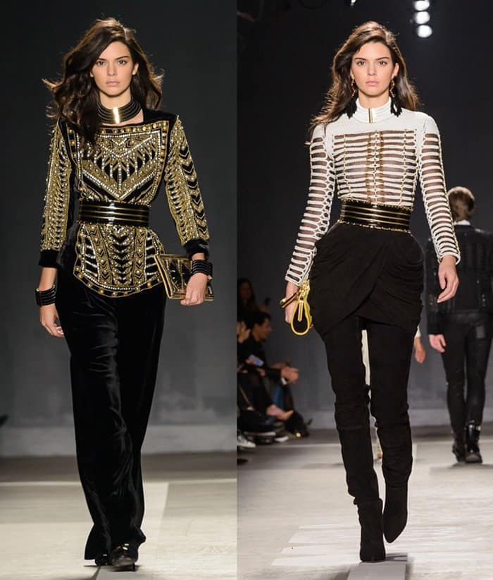 Kendall Jenner walking the runway of the Balmain x H&M collection launch at 23 Wall St. in Manhattan, New York City, on October 21, 2015