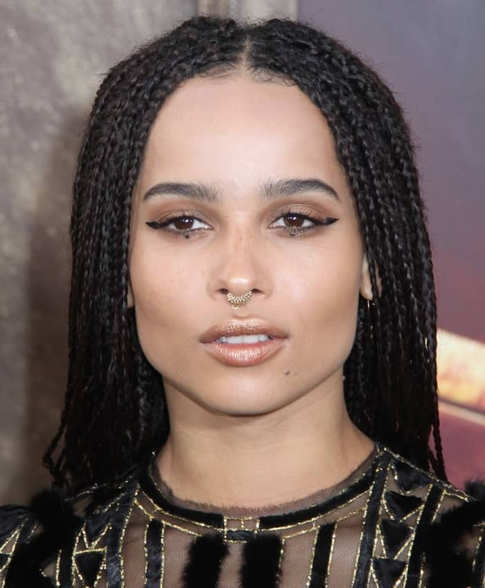 Zoe Kravitz paired her mini gold hoop septum ring with a geometric cat eye