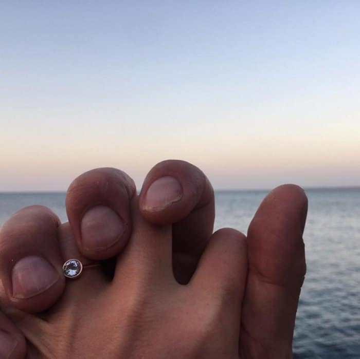 Julia Stiles's minimalist engagement ring