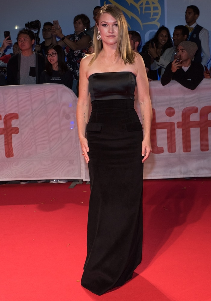 "Julia Stiles attends the ""Hustlers"" premiere during the 2019 Toronto International Film Festival"