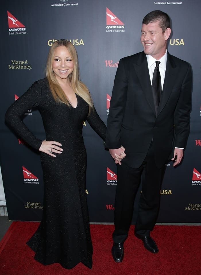 Mariah Carey and fiancé James Packer at the 2016 G'Day Los Angeles Gala